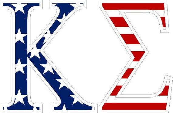 Kappa Sigma American Flag Greek Letter Sticker 2 5