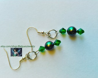 Green and Silver Earrings    E#3  One Of A Kind!