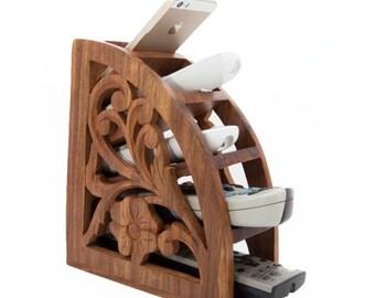 Wooden Carved Remote Holder Stand