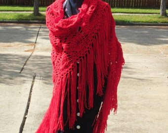 Crochet Shawl: Boho Pineapple Shawl in Red