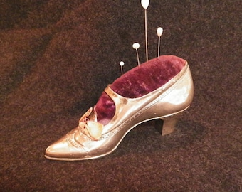 Silver-plated Victorian Shoe Pin Cushion-Large