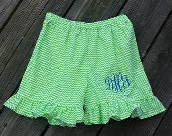 Girl shorts, Ruffle shorts, monogrammed shorts.