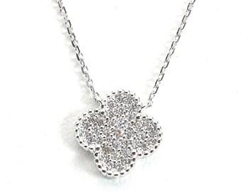 Flower Cubic Zirconia Silver Necklace