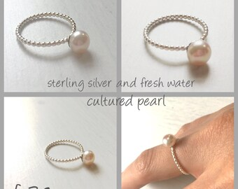 Silver ring - silver and pearl stacking ring