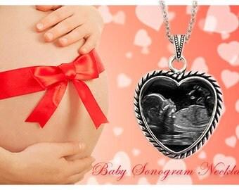 Ultrasound necklace, Sonogram necklace, Baby ultrasound necklace, heart shaped pendant