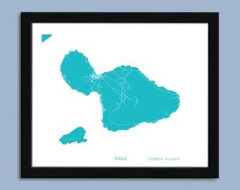 Maui map, Maui city map art, Maui wall art poster, Maui decorative map