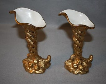 Beautiful Pair Vintage Holley Ross 22 K Gold Cornucopia Vases 1940s - 1950s LaAnna PA