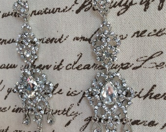 Bridal Chandelier Vintage Romantic  Style Crystal Earrings White Gold Plated Stunning and Shiny