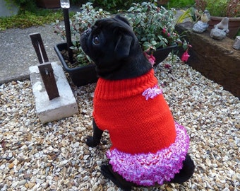 Fun pug knitted jumper with lace rural ra skirt