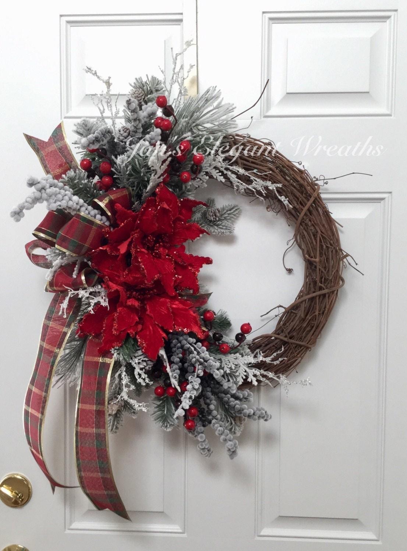 Christmas Wreath Poinsettia Wreath By Janselegantwreaths
