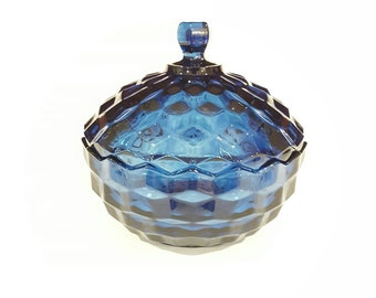 Blue Whitehall Covered Candy Dish