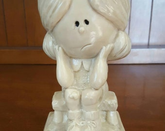 "1971 Vintage Russ Berrie Co Collectible Figurine ""I Can't Help Missing You"""