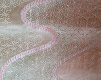 Vintage Pink Asanoha Obi / 102