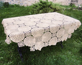 Creamer Knitted Tablecloth - Round Crochet Tablecloth - White Lace Tablecloth - Wedding decor - Table decor