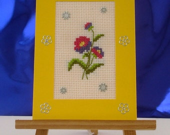 Card happy birthday hand embroidered flowers