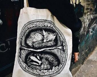 """Cotton Bag, 38 x 43 cm, long handles, """"Let Us Keep Them Safe"""""""