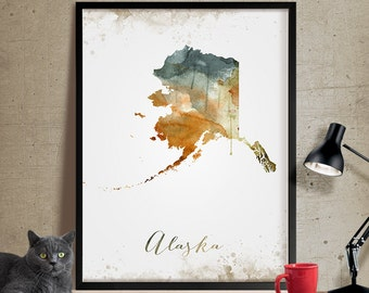 Alaska Art, Alaska State Map, Watercolor Map, Alaska Poster, Alaska Wall Decor, State Art Print, Watercolor Print, Watercolor Poster (360)