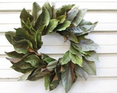 "Dried Magnolia Leaf Wreath Dried Floral Large 22 - 23"" Size Natural Green, Brown and Russet Floral Wedding, Craft, Home Decorating"