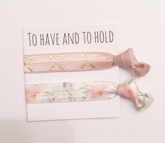 Bridesmaid hair tie favor//tea rose arrow orange blossom//hair tie card//party favor//hair tie favor//bridesmaid gift