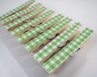 Green Gingham Clothespins, Set of 8 Clothespins