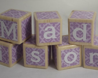 Personalized Vintage Lavender Theme Blocks. Baby Blocks. Wood Toy.  Baby Shower Gift. Nursery Decor. Lilac. Purple.Violet.Bright & Colorful.