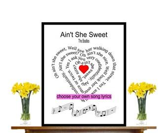 Oh ain't she sweet, The Beatles, print, Beatles song lyric,  Beatles song art,  Beatles music print, Song Lyric, heart shape Spiral,