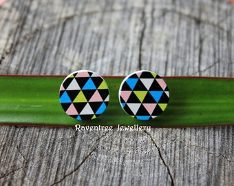 Wood stud triangle earrings. Stainless steel earrings. Wooden earrings. Triangle earrings. Gift for her.