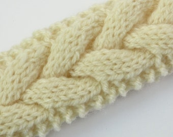 Hand Knitted Braided Headband Hairband Natural