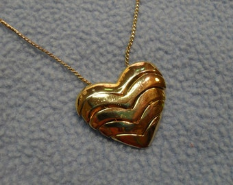 "Pretty Layered Gold Heart Necklace ~Long 35"" Chain!"