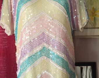 Vintage 80's Sequin Sparkle Top - Joseph Le Bon - Paris - New York - Hong Kong - Silk Lining