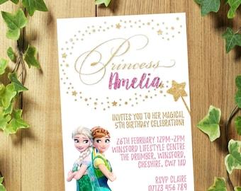 32 Personalized Frozen Elsa and Anna Birthday Party Invitations Invites + Envelopes