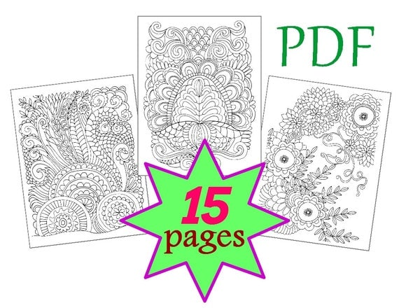 Coloring Book for adults 15 pages, Abstract, Printable PDF, Letter, Quality Vector Graphics 3