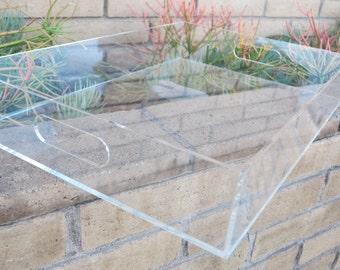 Clear Lucite/Acrylic/Plexiglass butler tray / ottoman cover
