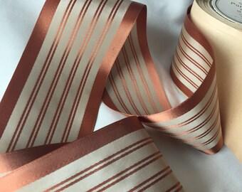 Vintage Striped Ribbon, Vintage Rayon Ribbon, Vintage Swiss Ribbon, Vintage Satin Ribbon, Vintage Faille Ribbon, Apricot Ribbon, Tan Ribbon
