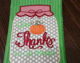 Give Thanks dish towel