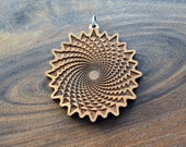 Organic Spiral Vortex Pendant - Natural Hardwood - Laser Cut Engraved Wood Wooden Sacred Geometry - LT10053