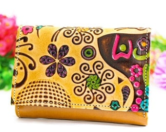 Gift for women, gift idea, handmade gift leather wallets, originals wallets for women, embossed and hand painted, wallet leather B
