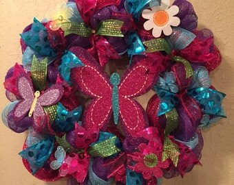 Spring wreath, summer wreath, butterly wreath, flower wreath, spring front door wreath, summer front door wreath, spring decor, summer decor