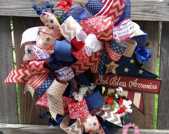 REDUCED!!! -Deco Mesh Patriotic Wreath -4th of July Wreath -Patriotic Decor -Red White Blue -