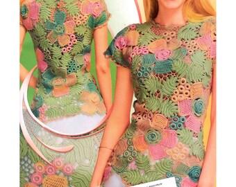 irish crochet top pattern,detailed tutorial,irish crochet blouse,summer top pattern,freeform pattern,irish lace tutorial,crochet motifs,