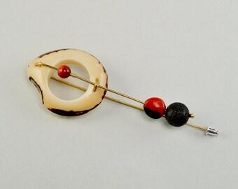 Organic brooch, lava jewelry, artisan jewelry, brass long brooch, tagua jewelry, beaded brooch, brooch under 25, sustainable jewelry.