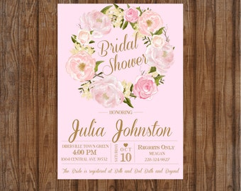 Pink Floral Bridal Shower Invitation Digital File