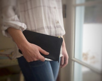 Black Leather Clutch. Leather Pouch. Small Leather Wallet