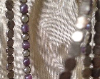 antique pale lavender and faux pearl dainty trim circus trim tiny trim 1920's 1940's