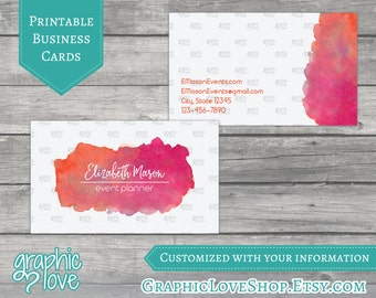 Printable, Personalized Watercolor Double Sided Business Cards | Digital JPG, PNG & PDF Files
