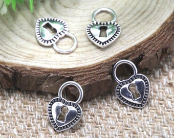30pcs heart lock Charms silver tone 2 sided heart lock charm pendant 17x12mm D2009