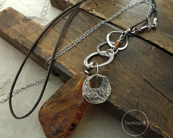 Amber & hessonite -  necklace