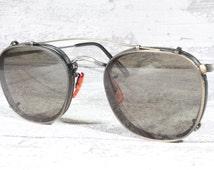 Oliver Peoples MP-12 vintage eyeglasses with sun clips / 80s sunglasses / square frames / designer eyewear
