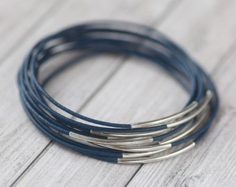 Blue leather bangles with silver tube, set of 10 bracelets
