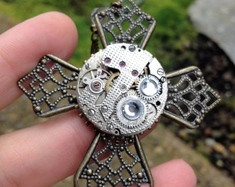 Brass Steampunk Cross